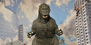 "A 1-metre tall statue of Godzilla is displayed at a Godzilla art exhibition in Tokyo on May 2, 2014. Japanese fans of Godzilla say the newly-unveiled monster, set to star in a Hollywood reboot of the post-war classic, is too fat and has been ""super-sized"" by a country used to large portions. The latest version of the giant amphibian will hit 3D screens in the United States on May 16 and in Japan two months later as the fire-breathing Japanese lizard marks its 60th anniversary this year. AFP PHOTO / Yoshikazu TSUNO        (Photo credit should read YOSHIKAZU TSUNO/AFP/Getty Images)"